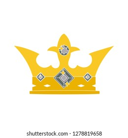 crown golden icon - queen symbol- king crown llustration - majestic sign isolated
