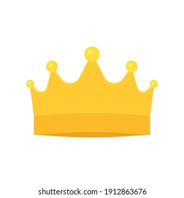 Crown golden royal symbol. Crown for king, queen, prince or princess. Fairy shine corona. Vector illustration isolated on white background