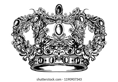 Crown hand drawn art. Royal imperial crown from art nouveau flowers tattoo and t-shirt design