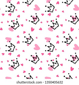 Crown and heart, girly sweet vector seamless pattern. Romantic style, hand drawn elements. Texture, pink, white, black colors. Applicable as endless textile or wrapping paper prints and backgrounds.