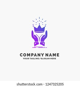 Crown, honor, king, market, royal Purple Business Logo Template. Place for Tagline.