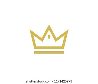 Crown Icon With Diamond Vector Logo Template