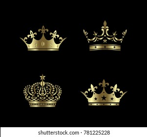 Crown icon. gold crown design template