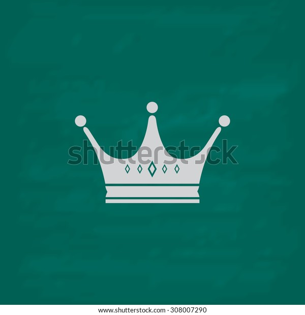 Crown. Icon. Imitation draw with white chalk on green chalkboard. Flat Pictogram and School board background. Vector illustration symbol