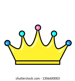Crown icon. Line art. White background. Social media icon. Business concept. Sign, symbol, web element. Tattoo template. Website pictogram.