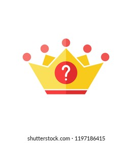 Crown icon with question mark. Authority icon and help, how to, info, query symbol. Vector illustration