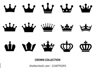 crown icon set / Black color