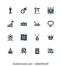 crown icon set. Collection of 16 filled crown icons included Jewelry, Vip pass, Award, Birthday girl, Crown, Necklace, Treasure, London eye, Catapult, Success, Gallows