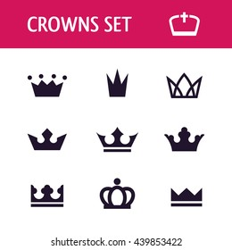 Crown icon set in vector
