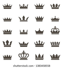 Crown icons. Queen king crowns luxury royal crowning princess tiara heraldic winner award jewel royalty monarch black flat silhouette, vector set