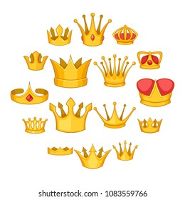 Crown icons set. Cartoon illustration of 16 crown vector icons for web