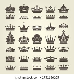 Crown icons set, monarchy authority and royal symbols, heraldic crowns collection, vector