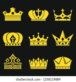 Crown icons set. Vector illustration.