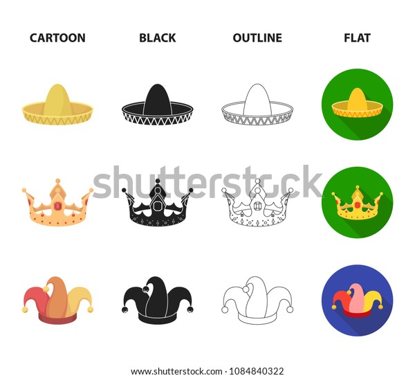 Crown, jester cap, cook, cone. Hats set collection icons in cartoon,black,outline,flat style vector symbol stock illustration web.