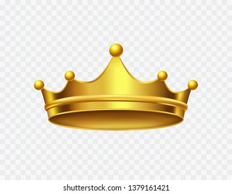 Crown of king isolated on transparent background. Gold royal icon. Vector golden queen crown, corona template.