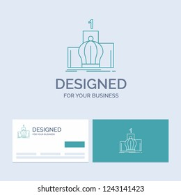 Crown, king, leadership, monarchy, royal Business Logo Line Icon Symbol for your business. Turquoise Business Cards with Brand logo template