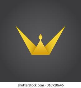 Crown king, w letter logo, 3d vector, eps 8