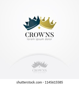 Crown of kings and queens logo, The crown king and queen vector symbol of the kingdom and victory. Kingdom vector logo template