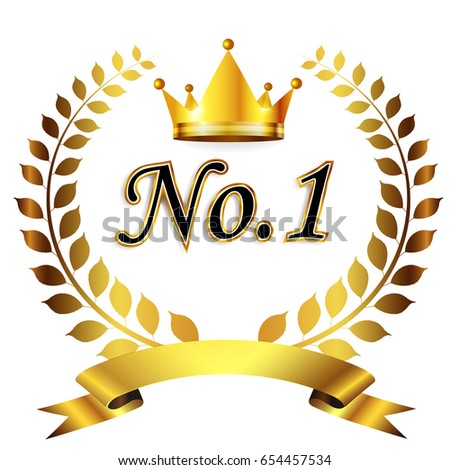 crown laurel number one icon stock vector royalty free 654457534