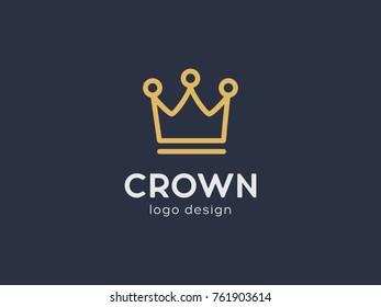 Crown line vector logo design. Royal king linear symbol concept. Creative outline vector logotype element