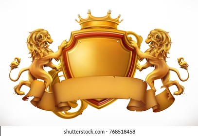 Crown, lions and shield. 3d vector icon.