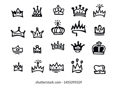 Crown logo  Black hand-drawn crowns. elements for princesses isolated on white background.
