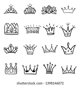 Crown logo graffiti hand drawn icon. Black elements isolated on white background. Hand drawn set of different crown and tiara for princess.Vector illustration