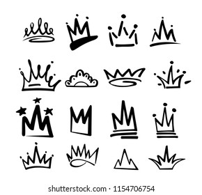 Crown logo graffiti icon. Black elements isolated on white background. Vector illustration.Queen royal princess.Black brush line.hipster style. Doodle hand drawn crown set.