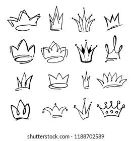 Crown logo graffiti icon. Black elements isolated. Vector illustration.