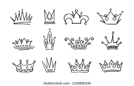 Crown logo graffiti icon. Black elements isolated. Vector illustration.