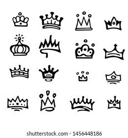 Crown logo graffiti icon. Black hand-drawn crowns. elements for princesses isolated on white background.