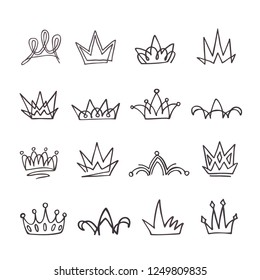 Crown logo graffiti icon. Doodle elements isolated. Vector illustration.