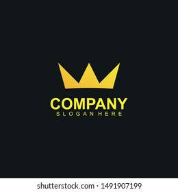 Crown Logo With Luxury, Gold Colour Isolated In Black Background. Crown Logo. Crown Icon. Vector Illustration
