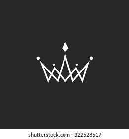 Crown logo monogram, mockup black and white royal symbol with jewels in the intersection thin line.