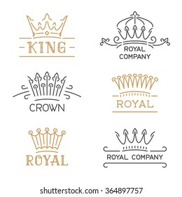 Crown logo set. Luxury signs in trendy line style. Vector illustration for hotel, restaurant, boutique, invitation, jewellery, etc.