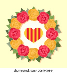 Crown made of red and yellow roses, for the day of Saint Jordi, heart with the Catalan flag, vector for Saint George's Day