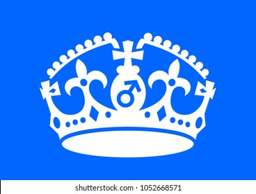 Crown with male sex symbol as metaphor of patriarchy - man is a dominant ruler, supreme authority in patriarchal society. Vector illustration