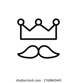 Crown, mustache icon. Simple line, outline vector elements of cultural activities icons for ui and ux, website or mobile application
