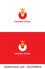 Crown pizza logo template.
