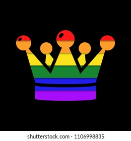 Crown in rainbow colors vector icon.