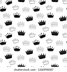 Crown Seamless Pattern, hand drawn royal doodles background, Vector Illustration.