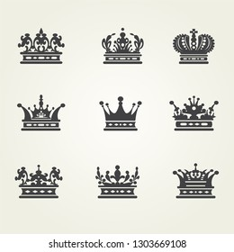 Crown set icons. Vector image