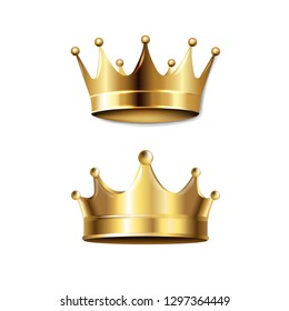 Crown Set Isolated With Gradient Mesh, Vector Illustration