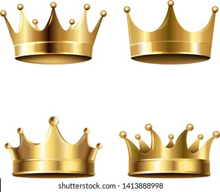 Crown Set Isolated White Background With Gradient Mesh, Vector Illustration