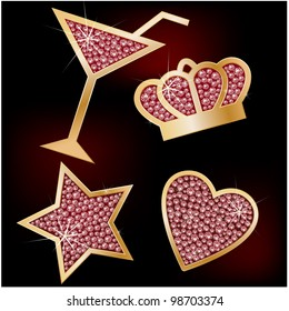 Crown, star, heart, the martinis decorated with brilliants.