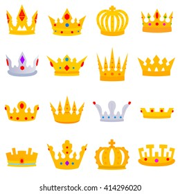 Crown with stones. Crown icons set of different shapes. flat design. Collection of the Iron crown of the rulers with jewels