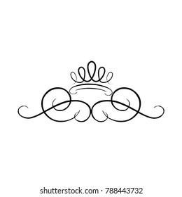 crown swirls line work vector illustration