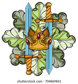 Crown, swords and oak leaves. Vector illustration isolated on white background for tattoos, stickers, printing on T-shirts and other items.