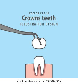 Crown teeth illustration vector on blue background. Dental concept.