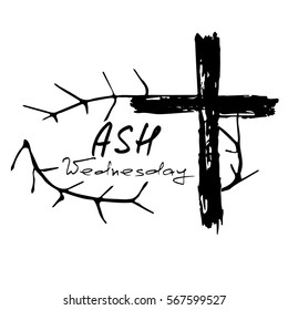 The crown of thorns and the cross. Ash Wednesday. Start of lent, The symbol of the Christian religion. Vector design. Hand illustration.